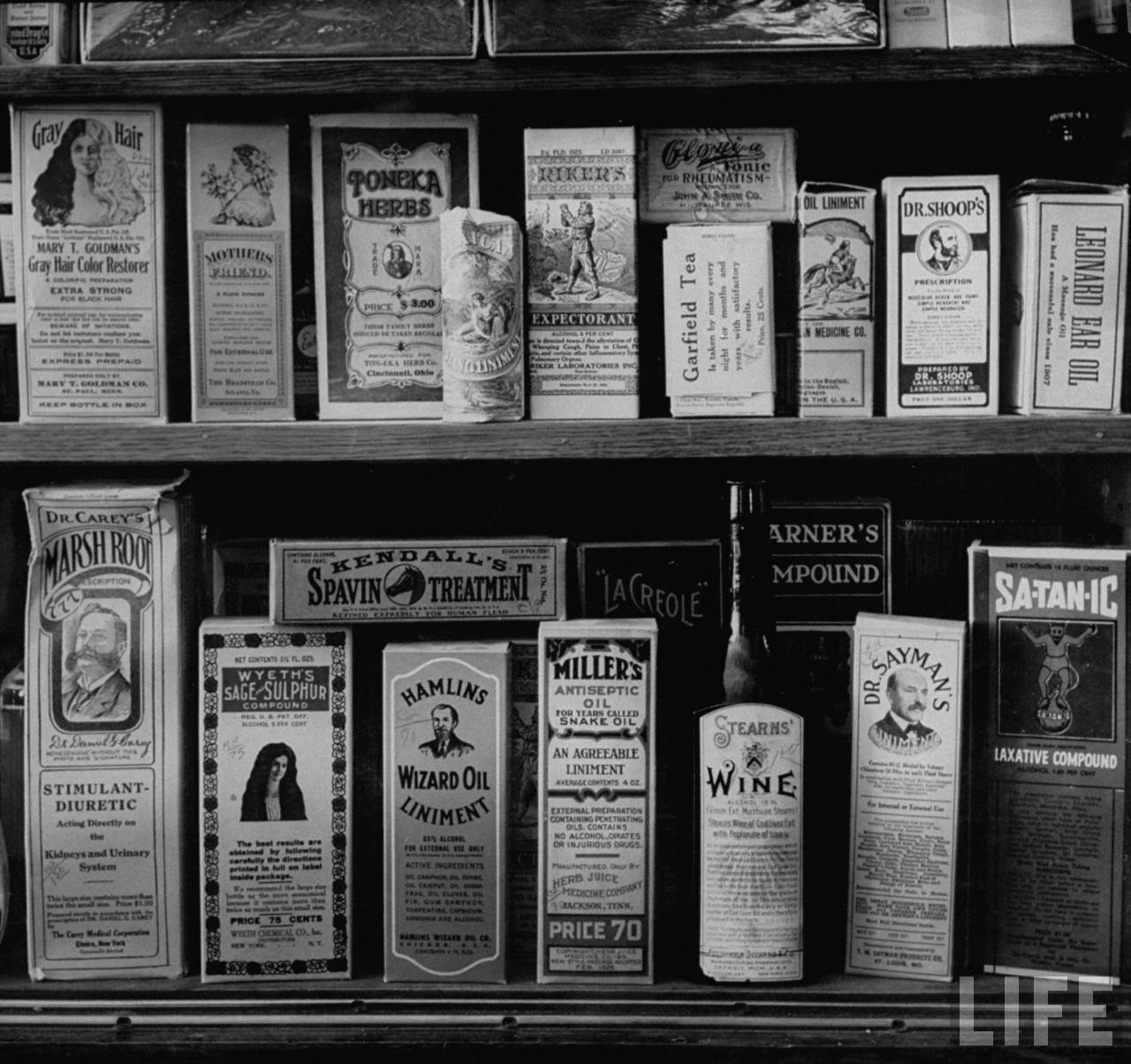 Medicines for sale at a local drugstore in Lebanon, KS. February 1957