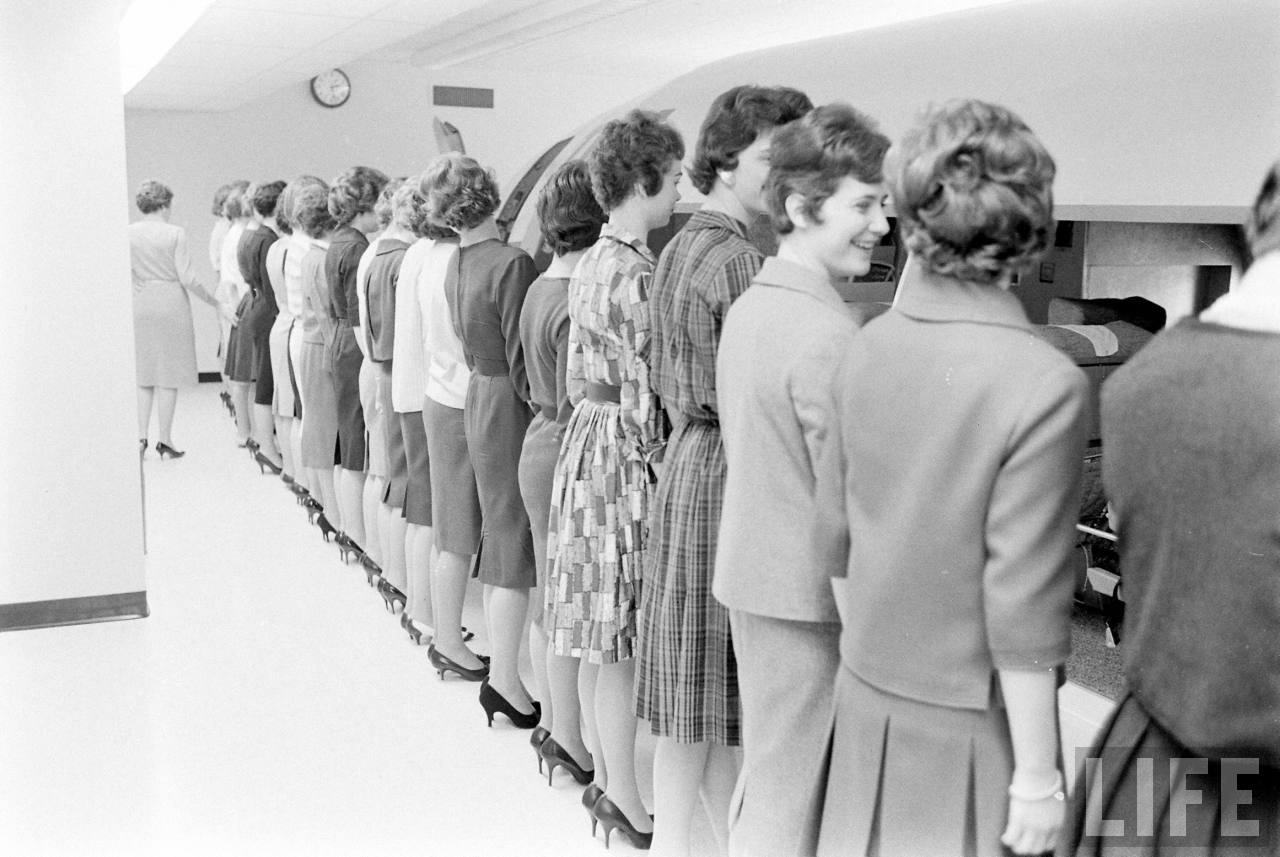 French And German Girls Going Through TWA Stewardess School In Kansas City