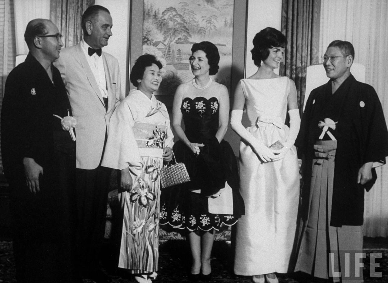 Vice Pres. Lyndon B Johnson (2L) his wife (C) and Mrs John F. Kennedy (2R) with Japan's Prime Minister Hayato Ikeda (R).