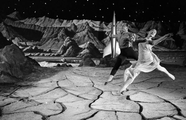Dancers leaping across Moon on the set of Destination Moon