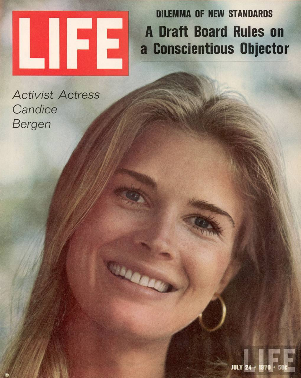 LIFE magazine cover dated 07-24-1970 w. logo & legend Activist Actress Candice Bergen, Photo by Michael Mauney, LIFE Magazine, © Time Inc.