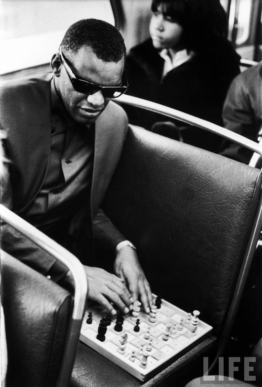 Ray Charles and chess board - Life Magazine photo