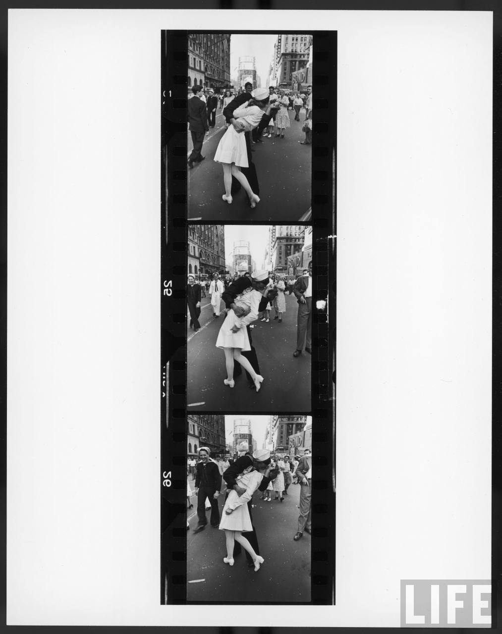 Three frames from photographer Alfred Eisenstaedt's famed set of the sailor kissing the nurse and other images of the Times Square VJ-Day celebrations.