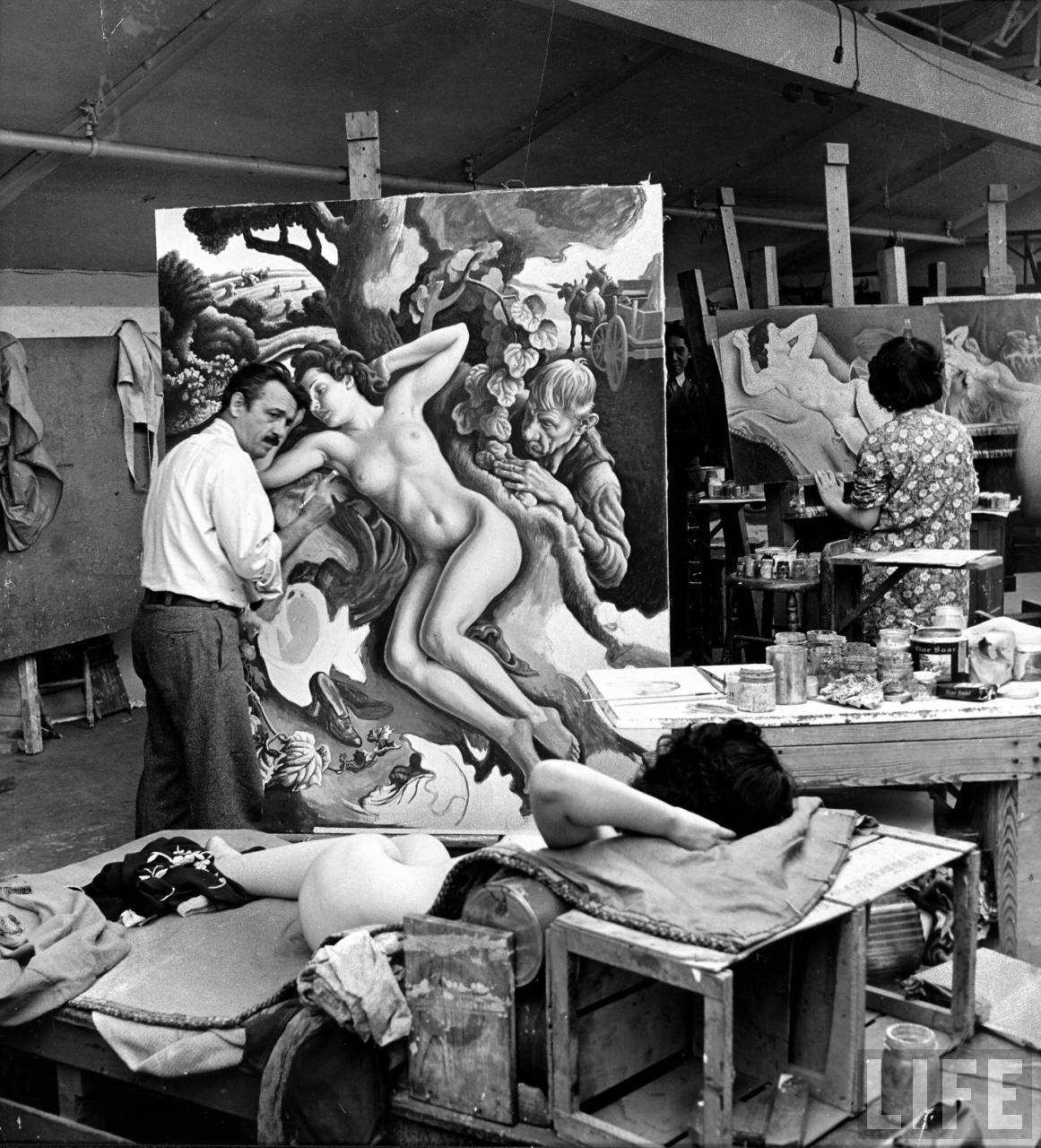 Painted clay model made by artist Thomas Hart Benton to serve as a three dimensional guide for his painting Rape of Persephone.