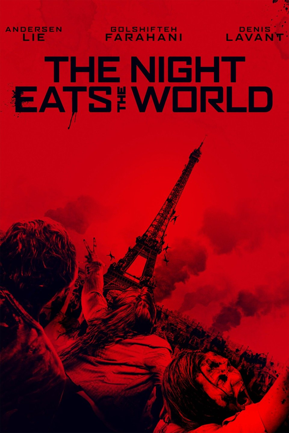 Movie poster for The Night Eats the World in black and red with horde of zombies clustered near Eiffel Tower, France, with plumes of smoke in distance.