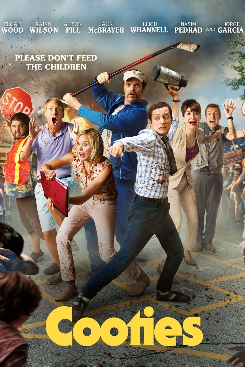 Movie poster for zombie film Cooties with cast comically fighting off unseen horde of zombies.