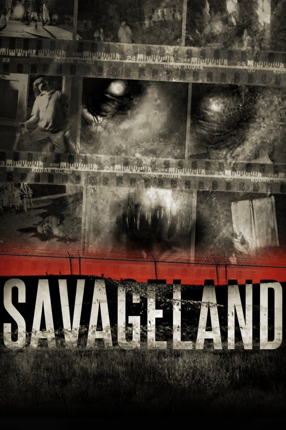 Movie poster for Savageland with black, white, and gray filmstrips depicting ominous images, over a red fenced landscape.