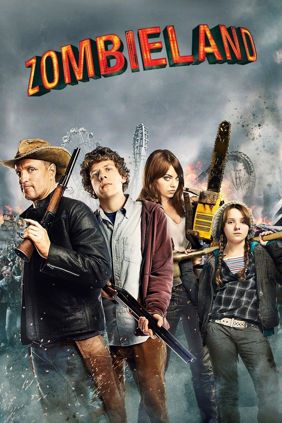 Movie poster for Zombieland with cast posing and armed in front of a zombie horde.