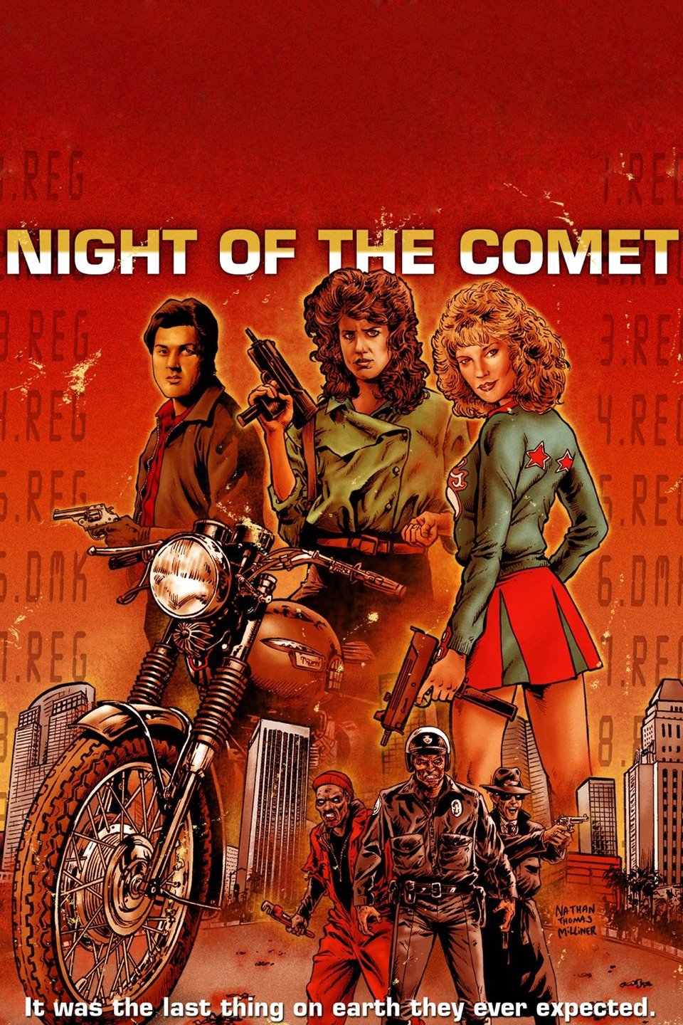 Movie poster for Night of the Comet featuring main characters in illustrative style in reddish hues.
