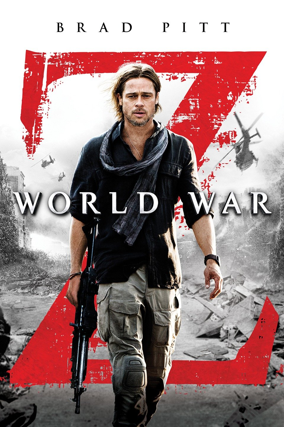 Movie poster for World War Z with actor Brad Pitt carrying rifle and walking amidst apocalyptic ruins.