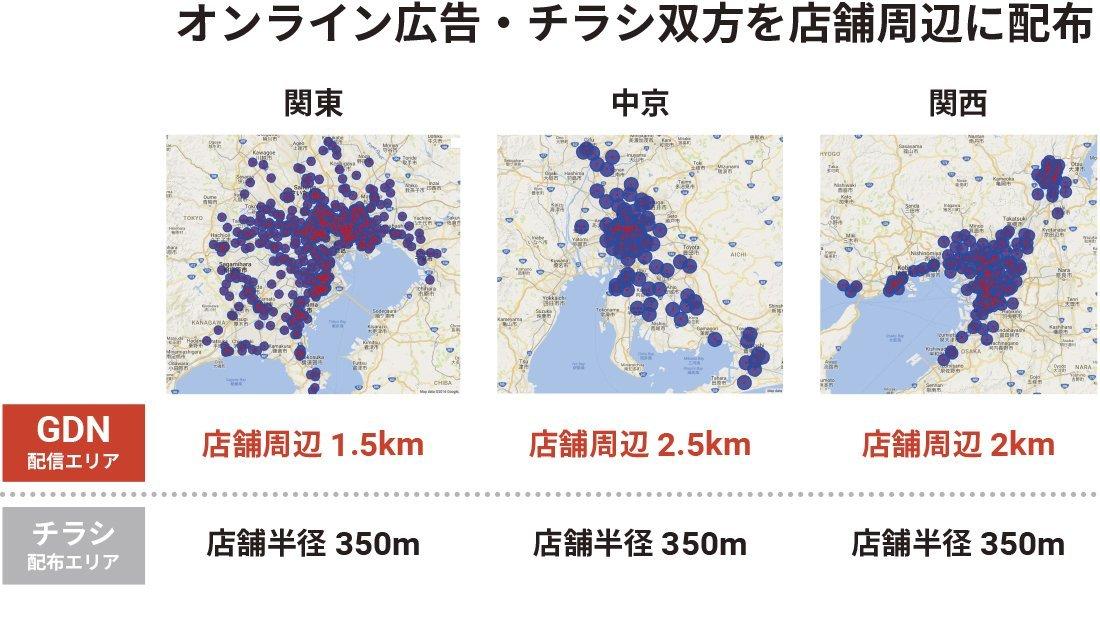 東名阪における広告配信エリア