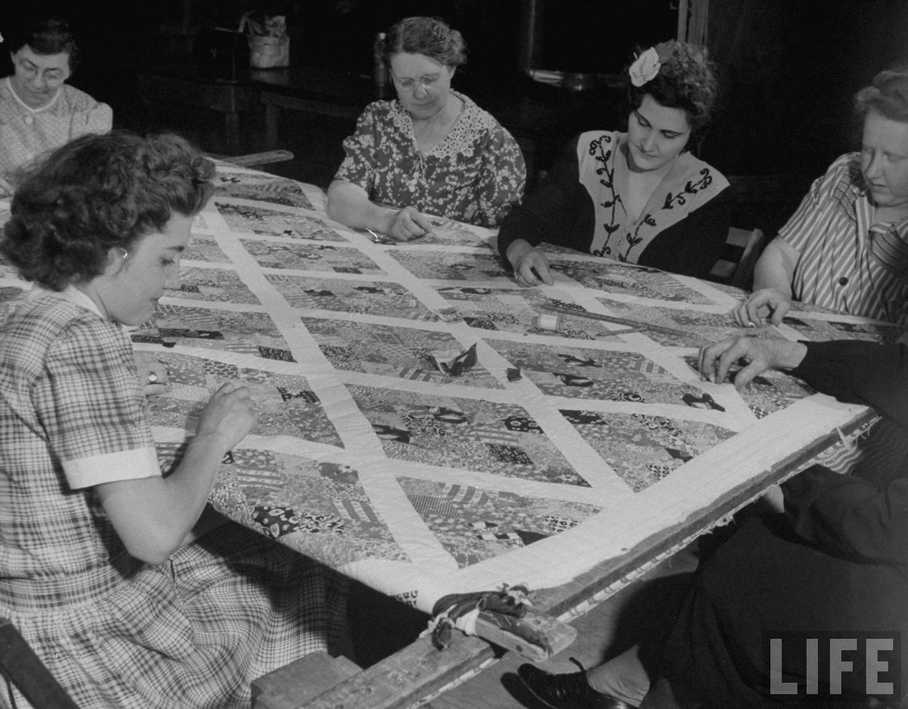 Women quilting.