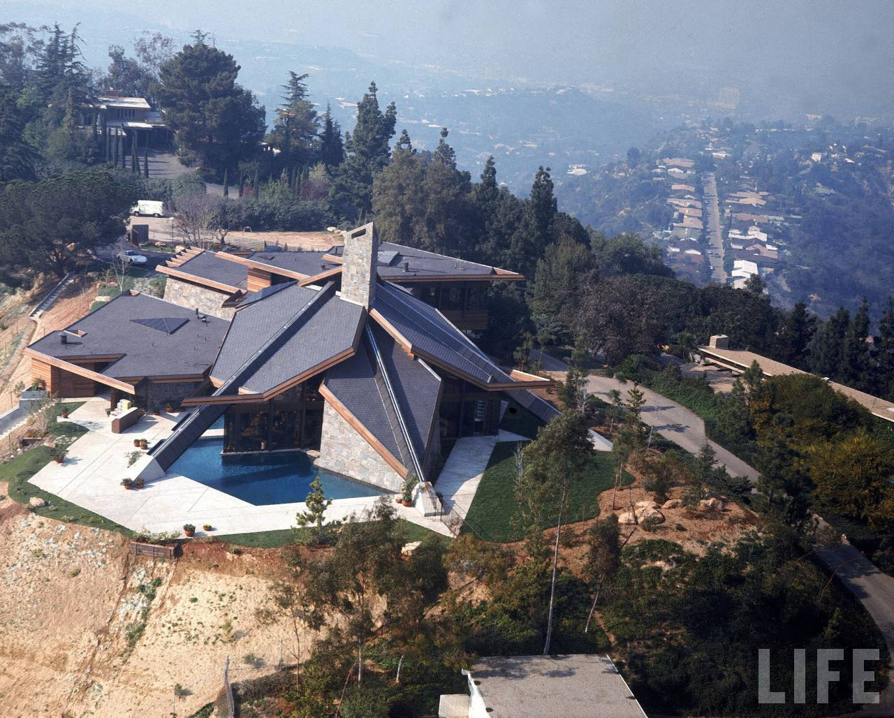 Aerial view of basketball player Wilt Chamberlain's expansive home.