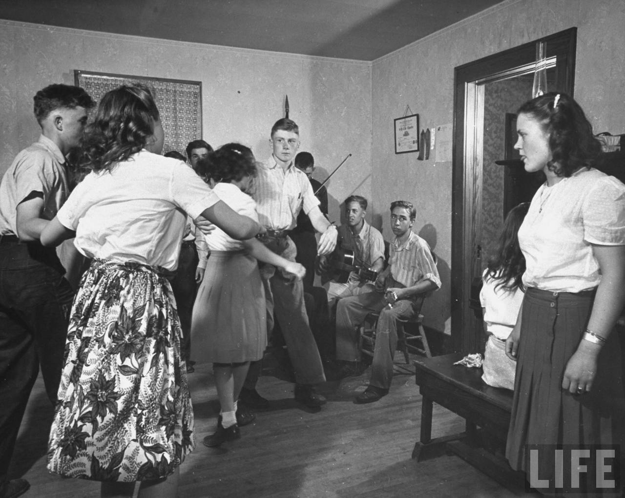 Kansas Farm Boy, Dan Gardner (center) at 4-H square dance.