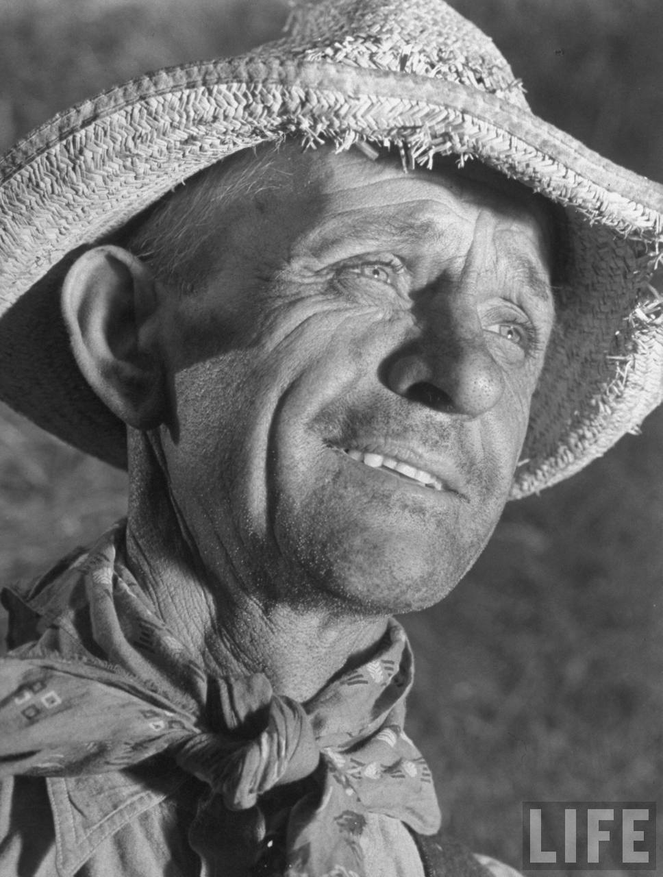Closeup of Kansas farmer.