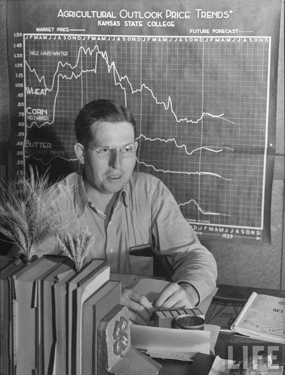 County agent Harold Harper at his desk in front of Kansas State College graph entitled Agricultural OUTLOOK PRICE TRENDS in his Harvey County office.