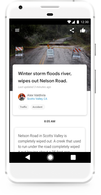 An example Bulletin story called 'Winter storm floods river, wipes out Nelson Road.' with a picture and text about a local weather event.