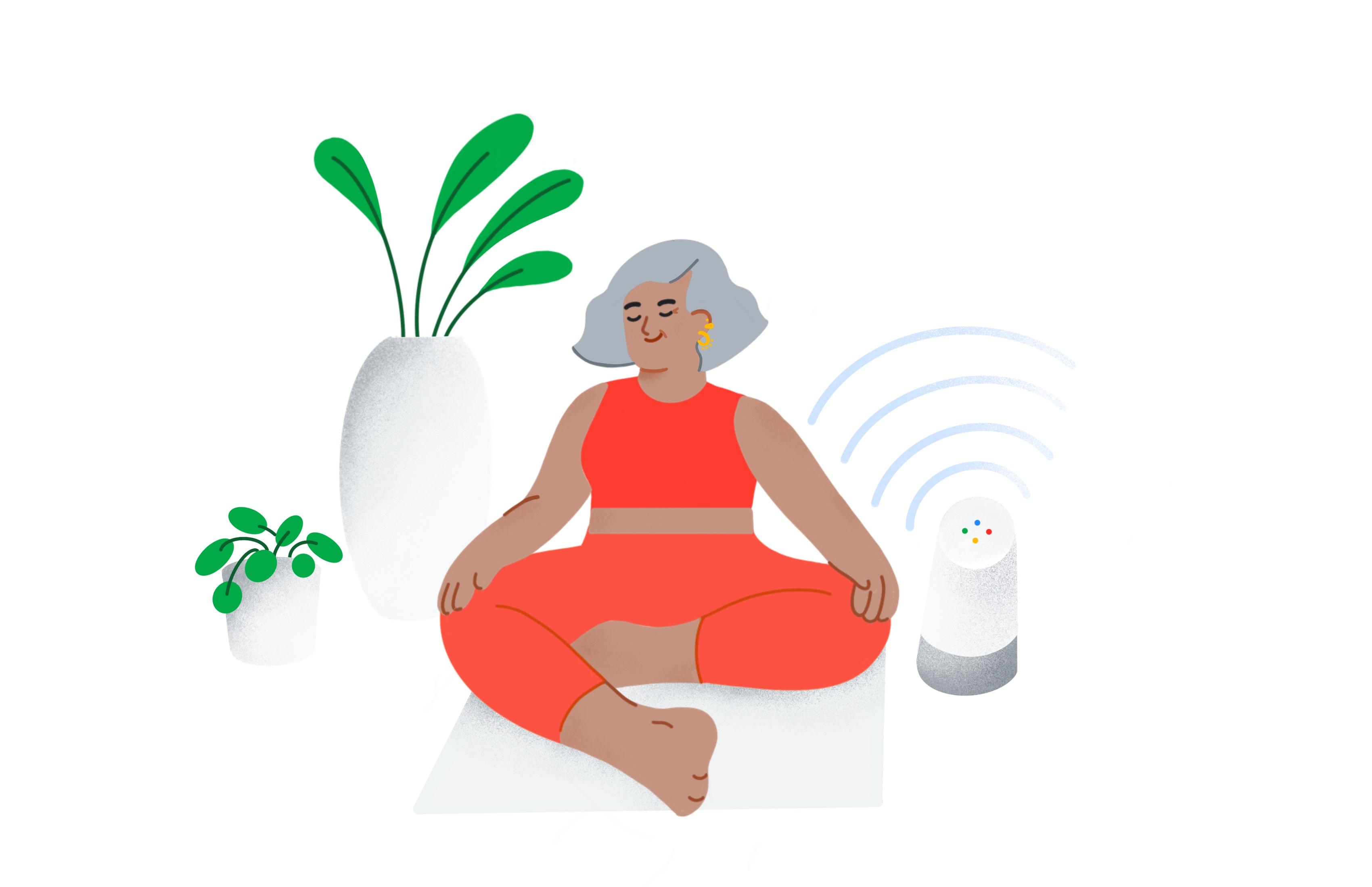 Eine Frau hört sich Podcasts an, während sie Yoga macht.