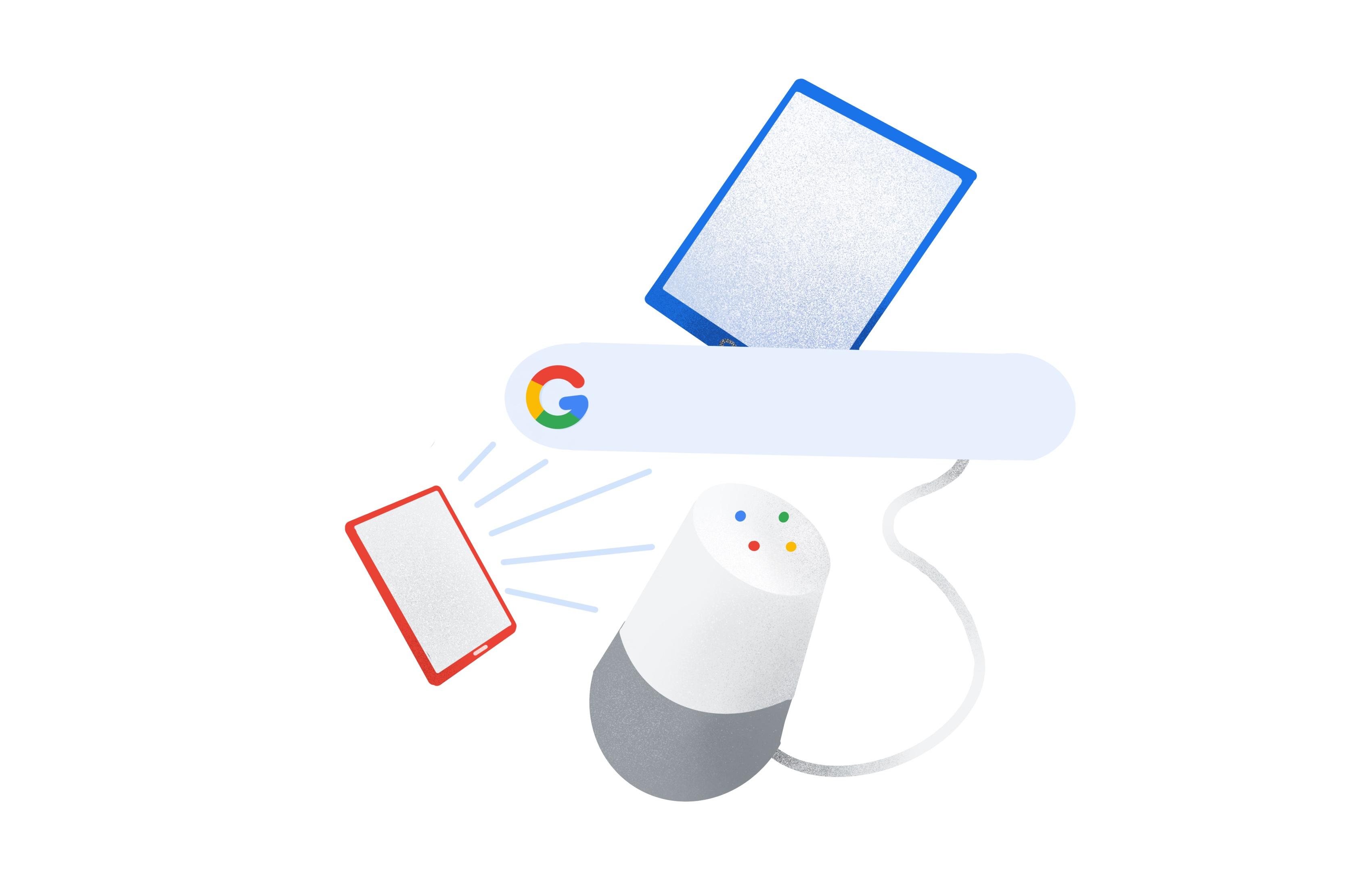 Écoute de podcasts sur plusieurs surfaces Google.