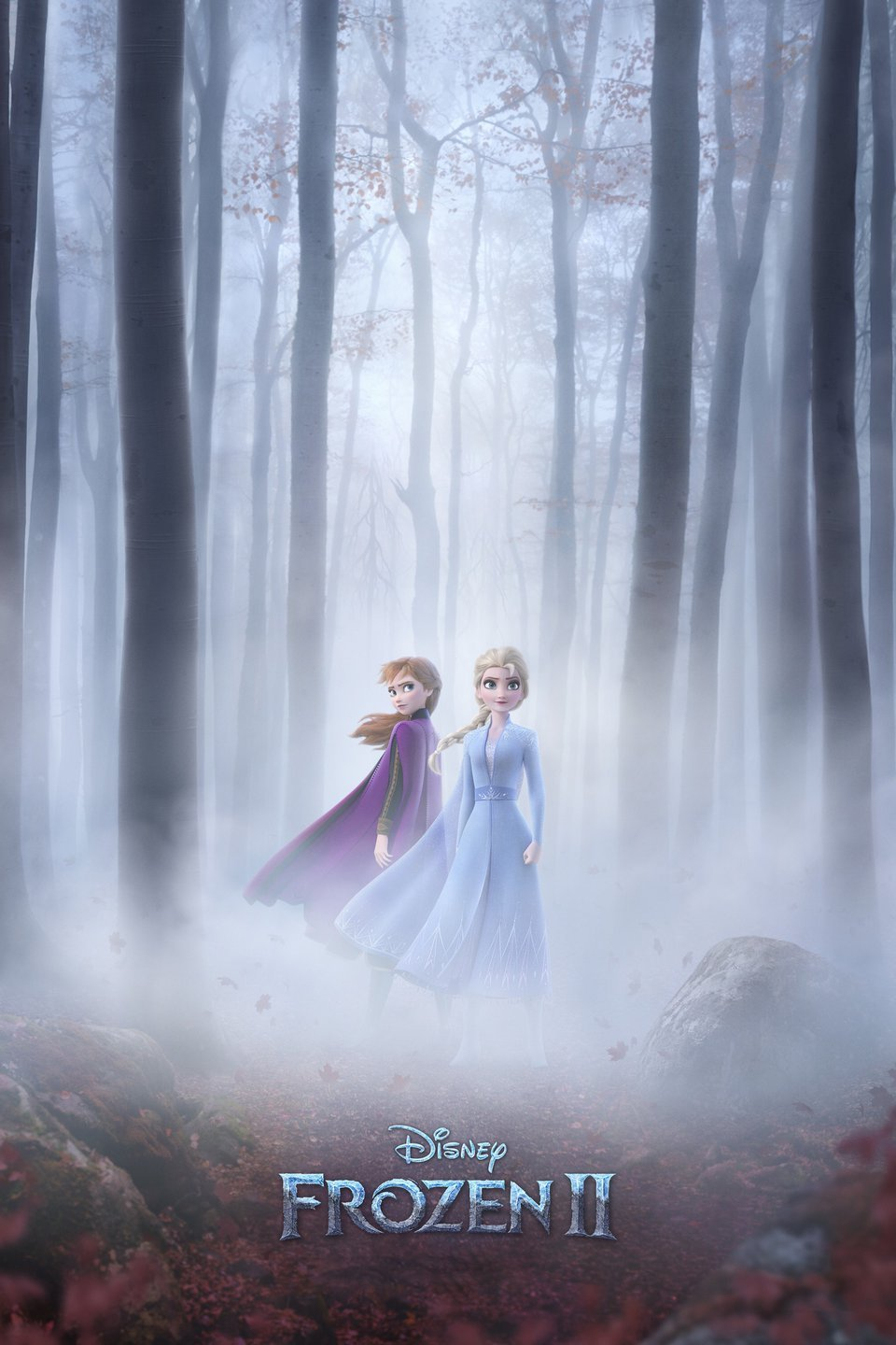 A picture of Anna and Elsa standing in a foggy forest.