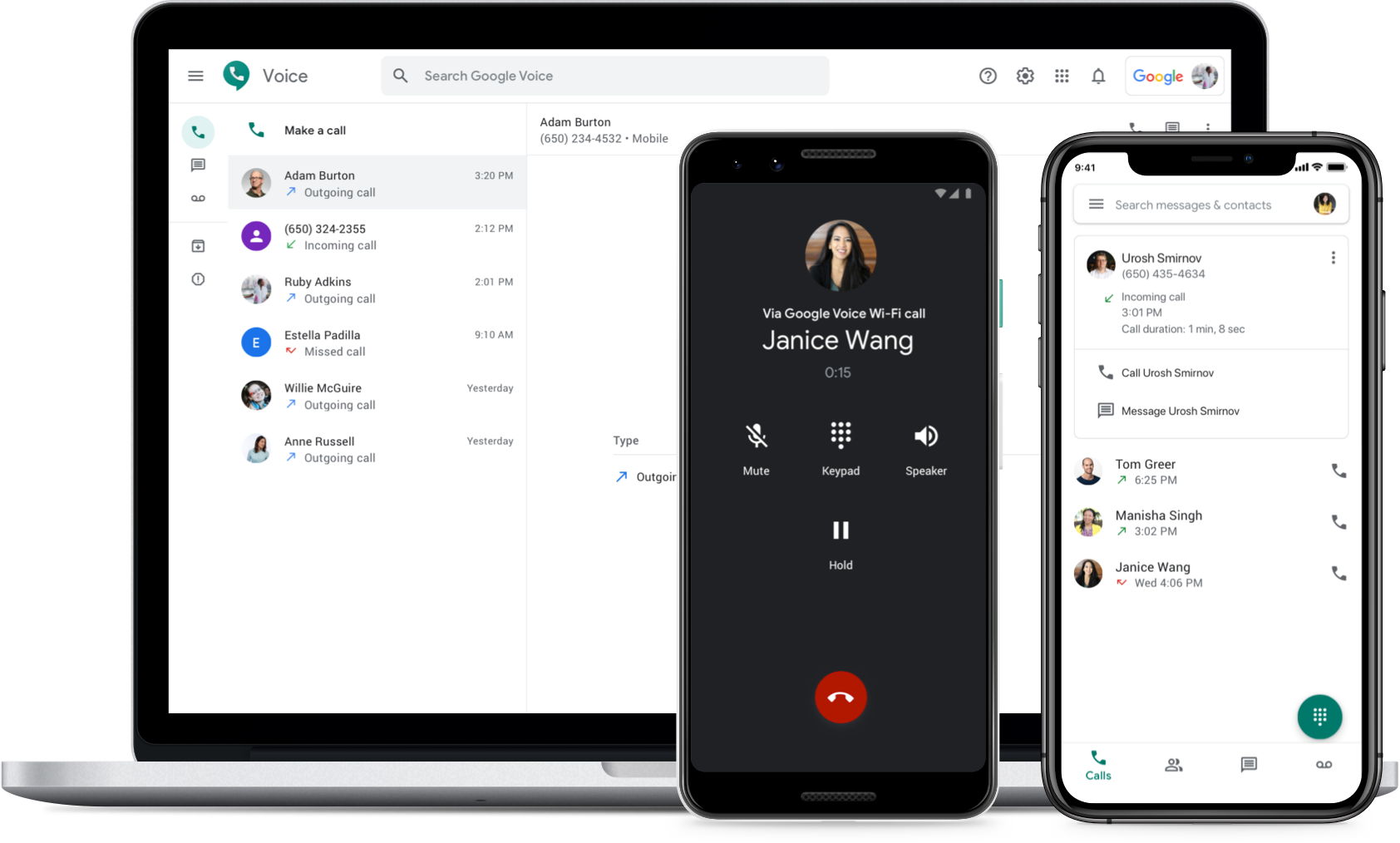 Image showing Google Voice on a laptop, Android phone and iPhone browser.