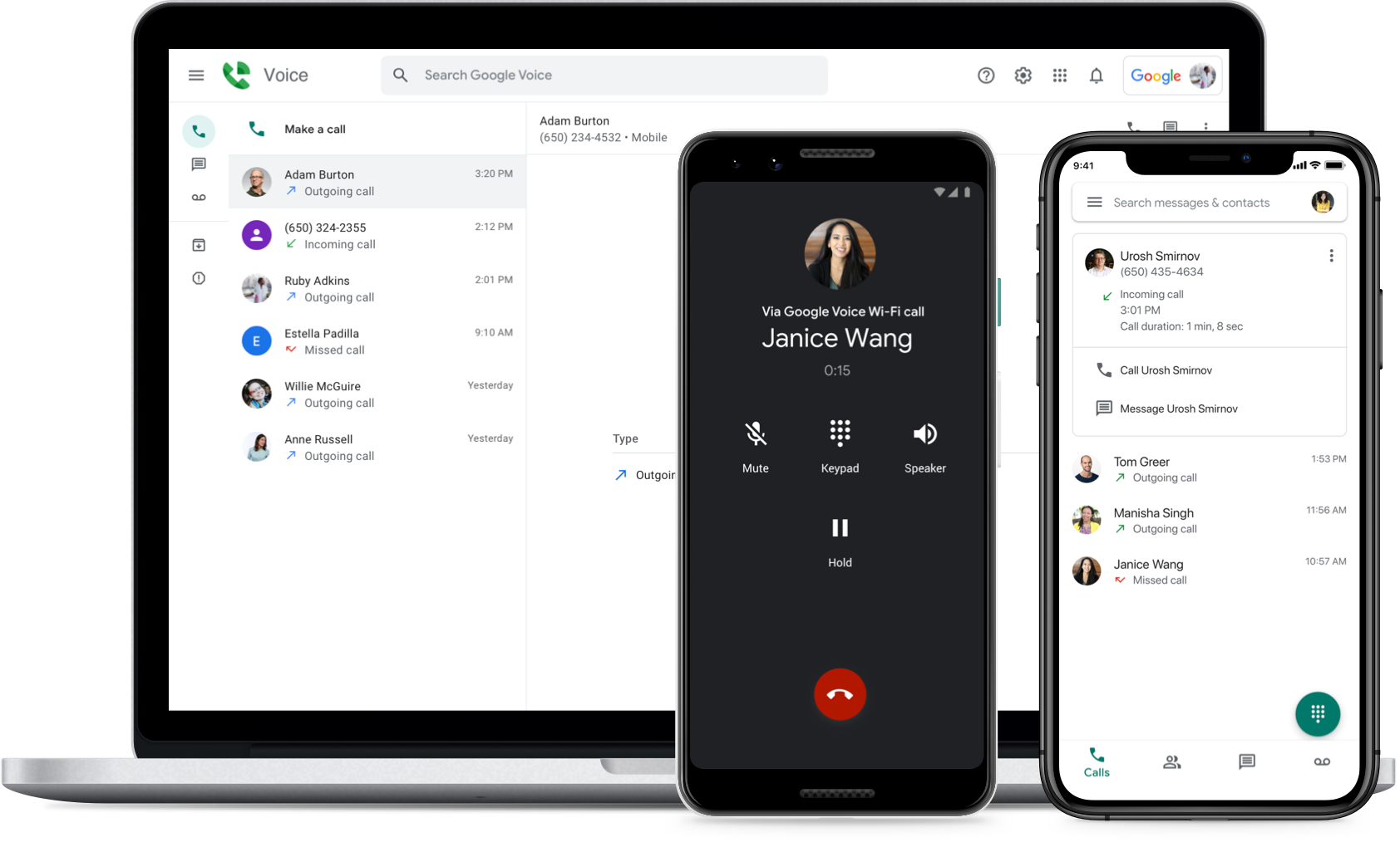 Image showing Google Voice on a laptop browser, android phone, and iPhone.