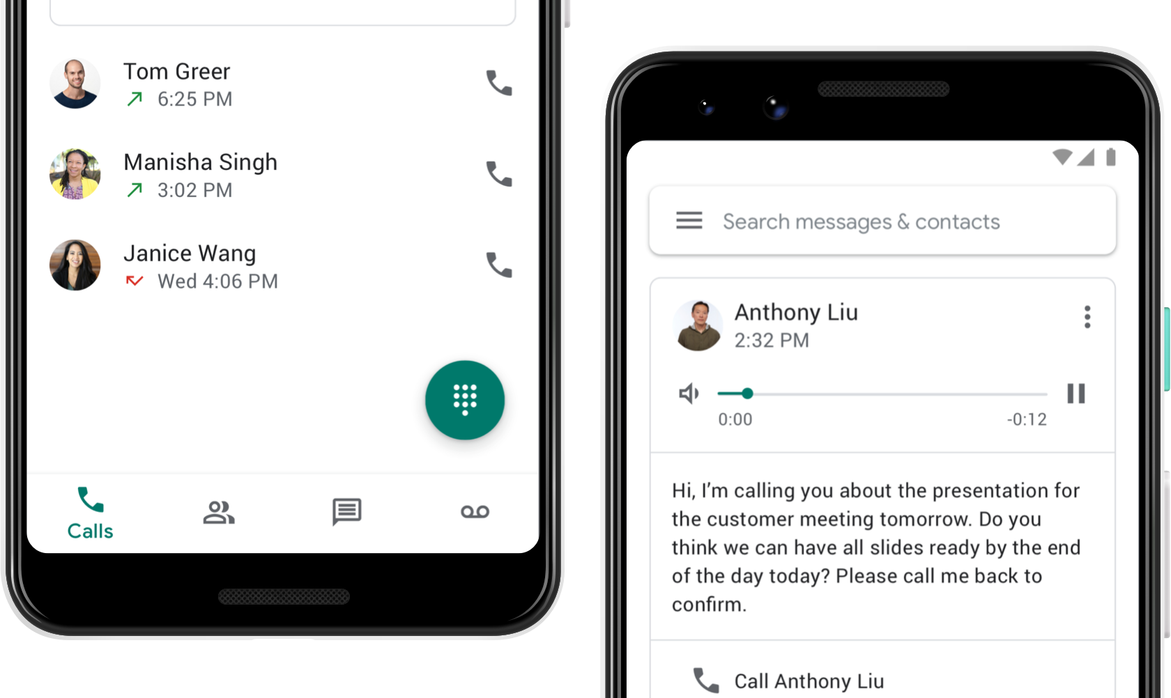 Image showing the Google Voice calling page and the voicemail page.