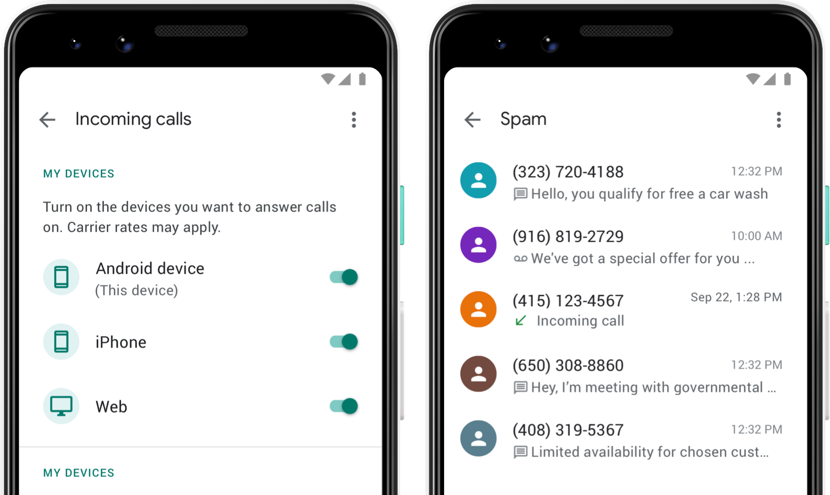Image showing the Google Voice spam page, showing a list of calls marked as spam